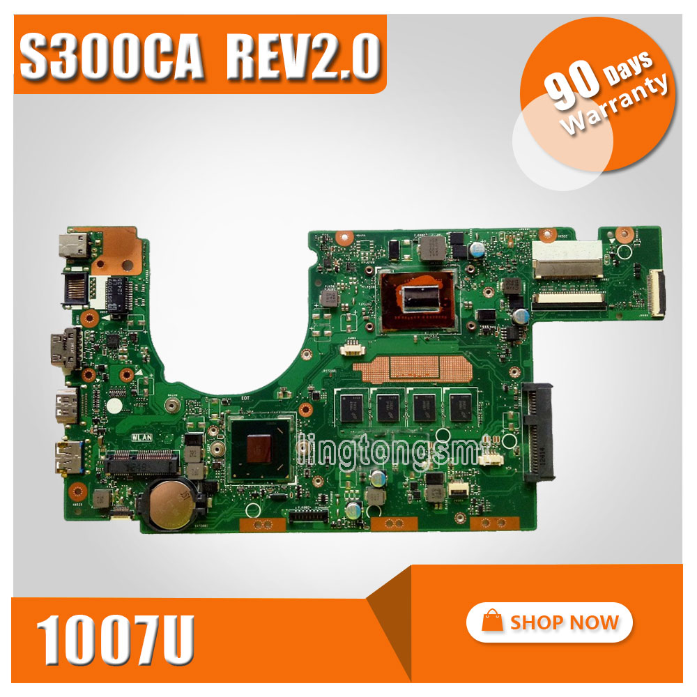 S300CA for ASUS Laptop motherboard 1007U REV 2.0 PN:60NB00Z0-MBD000 S300CA mainboard 100% tested ytai 1007u processor for asus x200ca laptop motherboard hm70 usb3 0 rev 2 1 with 1007u 4g ram mainboard fully tested