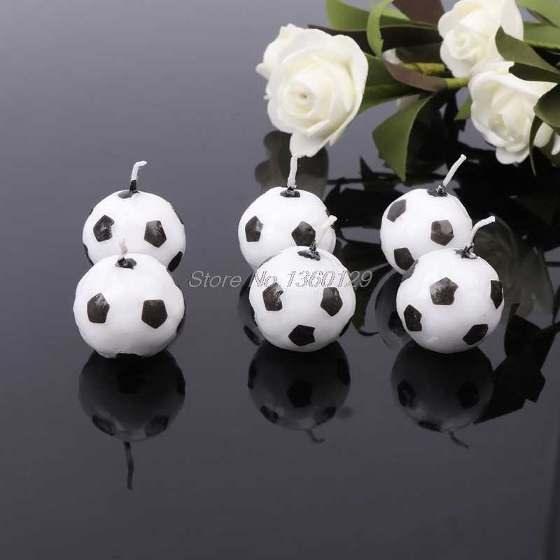 6Pcs/Set Soccer Ball Football Candles For Birthday Party Kid Supplies Decoration Nov18 Dropship