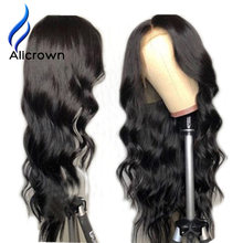 Alicrown Body Wave Lace Front Human Hair Wigs For Women Pre Plucked Brazilian Remy Hair Wigs 13*4 Bleached Knots Baby Hair(China)