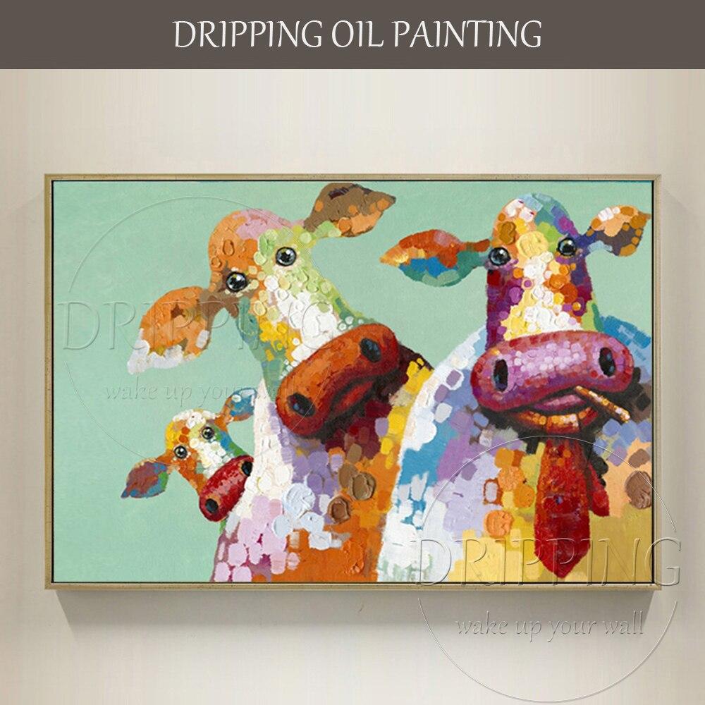Artista esperto dipinta A mano di Alta Qualità Della Mucca Pittura A Olio su Tela dipinto A mano Mucca Divertente Famiglia Pittura A Olio per Soggiorno