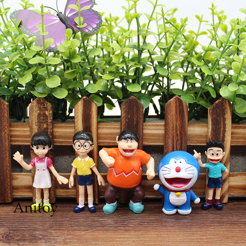 5pcs/set Anime Cartoon Cute Doraemon PVC Action Figure Collectible Model Toy Doll Kids Gift 6cm KT1015