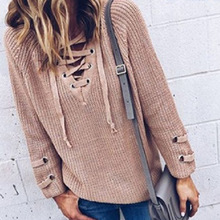new Europe style plus size sexy lace up v-neck woman sweater cute solid pullover long sleeve knit casual female sweater army green lace up knit long raglan sleeves sweater