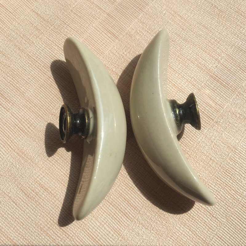 65mm retro moon light grey ceramic knobs pulls kitchen cabinet handles bedroom dresser drawer cupboard closet