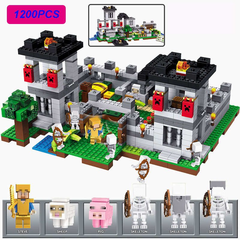купить New 4 IN 1 1200pcs My World The Fortress Compatible LegoINGLYS Minecraft Action Figures Building Block Bricks Toys For Children недорого