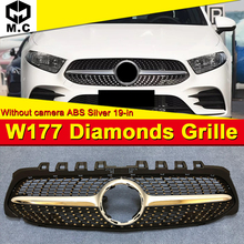 For MercedesMB W177 Front Bumper grille grill Diamond Style ABS Silver Sport A class A45 look Kidney grills Without Sign 2019-in