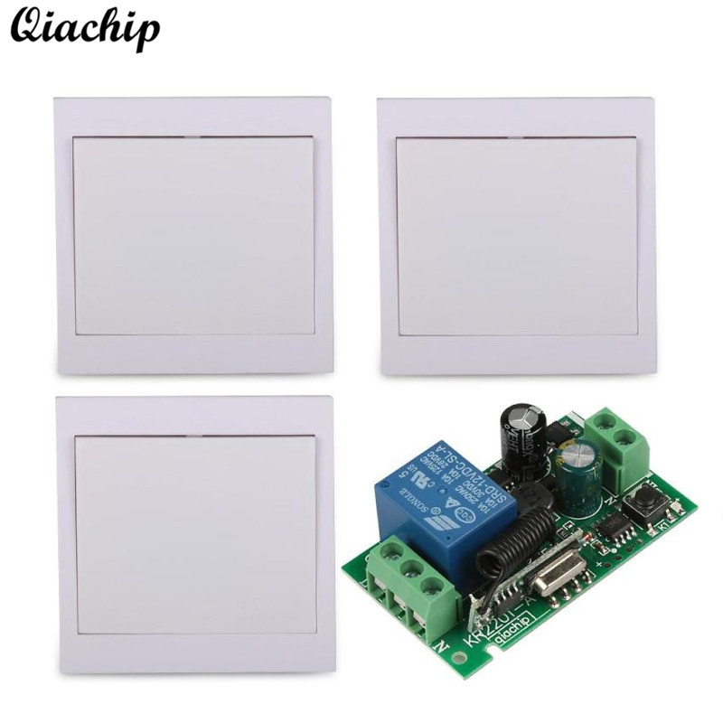 433 Mhz 1 CH Wireless RF Relay Receiver 86 Wall Panel Remote Transmitter AC 110V 220V Remote Control Switch Hall Bedroom Light 220v 1 ch 1ch rf wireless remote control switch system for led bulb light strips mini receiver 3ch 86 wall transmitter