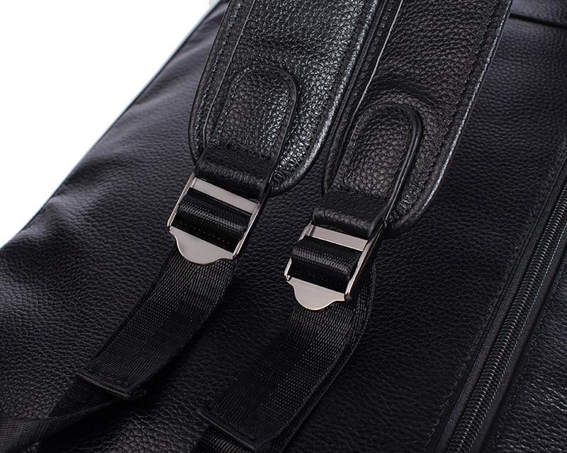Hommes en cuir véritable sac à dos sac à dos pour ordinateur portable grande capacité sacs d'école pour adolescents mode décontracté sac de voyage Mochila noir - 4