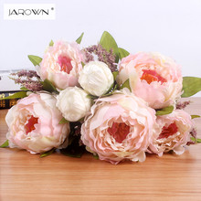 JAROWN 7 Heads Bunch New Silk Simulation Artificial flower Peony flower bouquet for wedding table accessory