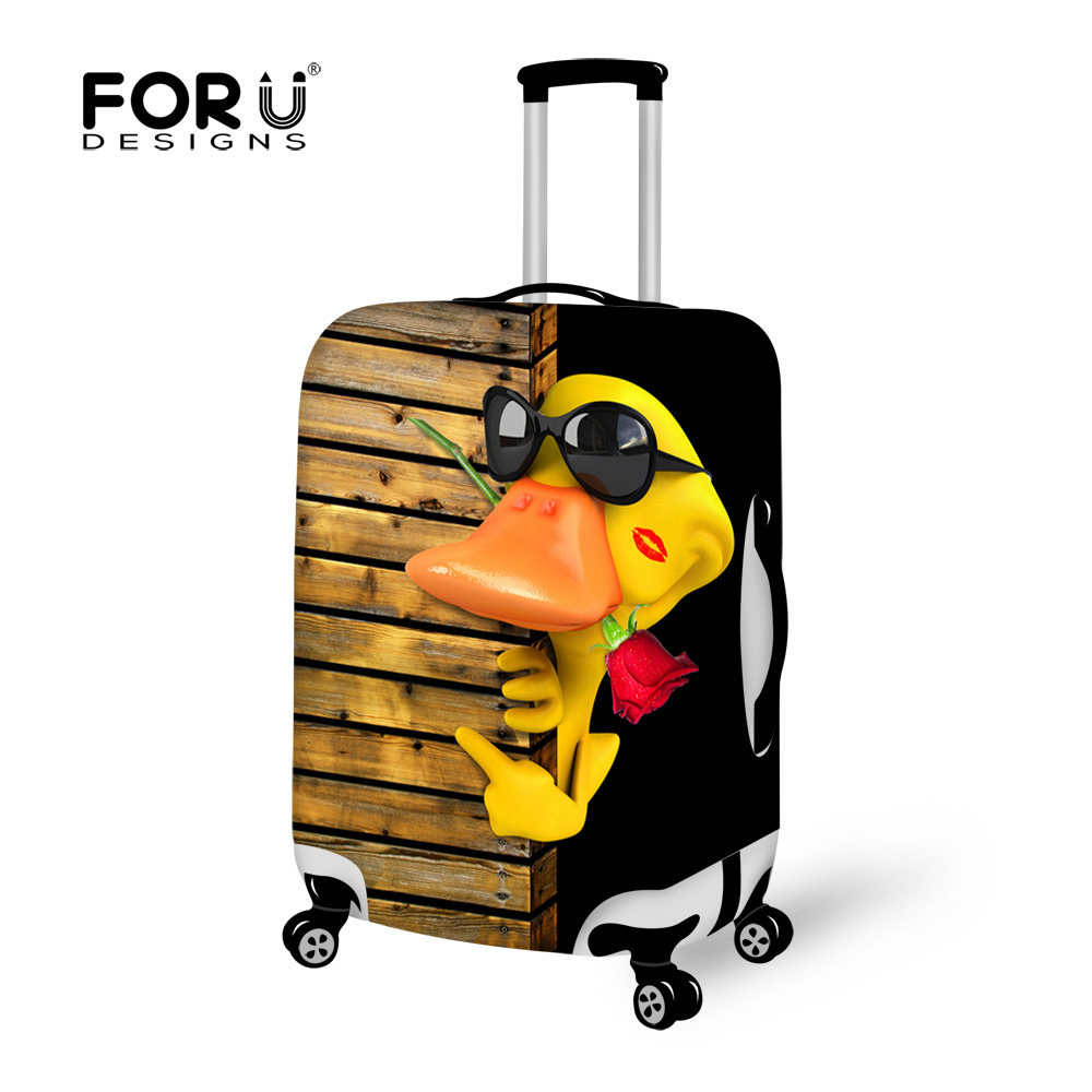 FORUDESIGNS Elastic Travel Luggage Protective Dust Cover Cool Duck Printing Suitcase Cover Stretch 18-28inch Baggage Cover
