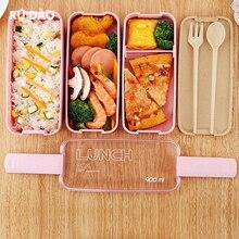 Кухонная пластиковая коробка бэнто для микроволновой печи, контейнер для хранения пищи для пикника, экологичный Ланч-бокс для детей, Школьный набор посуды