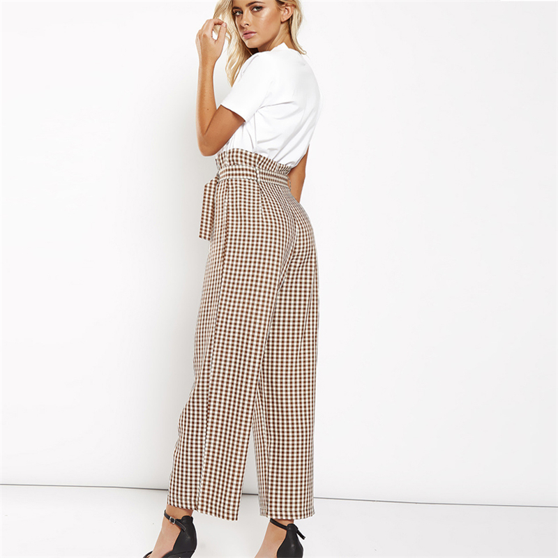 High plaid wide leg   pants   women Summer beach high waist trousers Chic streetwear sash casual   pants     capris   female
