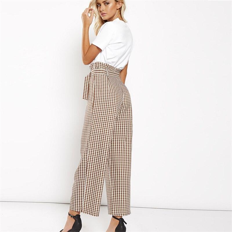 33d0d236cefc High plaid wide leg pants women Summer beach high waist trousers Chic  streetwear sash casual pants capris female