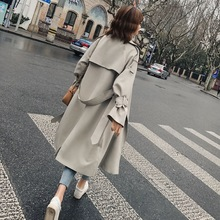 Beige Long Windbreaker Women Surcoat Moda Muje Outerwear Chic Waisted Clothes Loose Coat Autumn Trench Manteau Femme