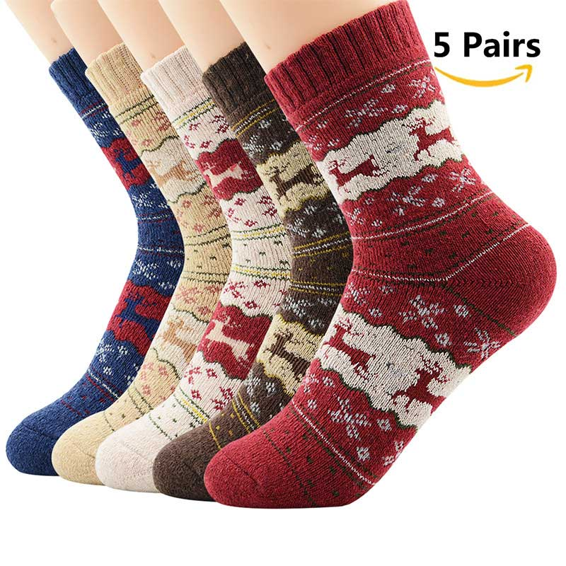 AZUE Men/Women's 5 Pairs Vintage Christmas Deer Socks Colorful Animal Pattern Winter Funny Socks Warm Socks