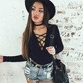 Hot Marketing Womens Ribbed Front Plunge Cotton Lace up Leotard Bodysuit Tops Jumpsuit Jun27