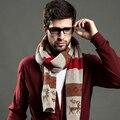 Новый мужской шарф на осень и зима олень pattern мужская мода Полосатые шарфы хлопка плед шарф Высокое качество S02F3