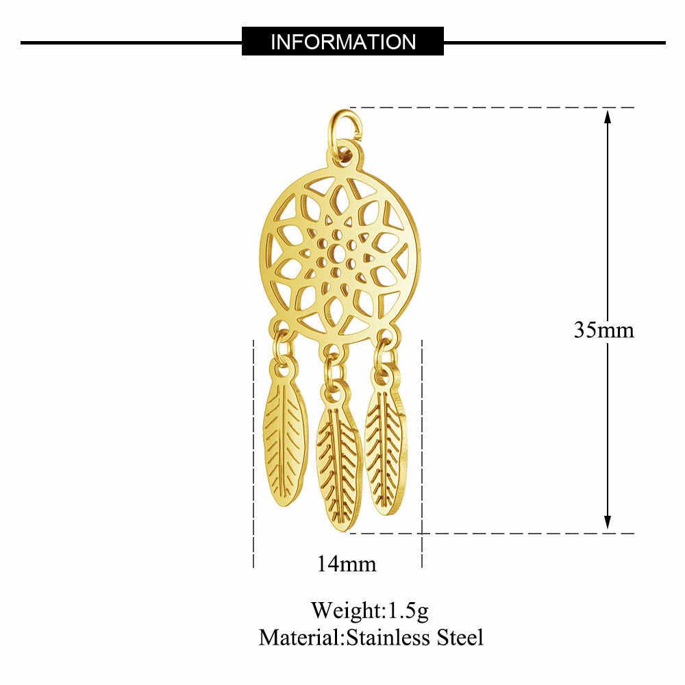 1 sztuk/partia stal nierdzewna 316L wisior łapacz snów 100% stal Lotus netto ręcznie robiona biżuteria diy dokonywanie znalezienie dostaw