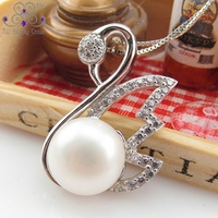 Real Solid 925 Pure Silver Jewelry Noble Vintage Swan White Natural Freshwater Pearl Pendant Necklaces For Women Fashion Jewelry