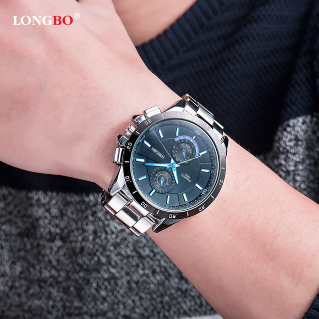 Watches Men LONGBO Popular Brand Sports Wristwatches 2018 Business Stainless Steel Watch Quartz Watch Men erkek kol saati 8833 in Quartz Watches from Watches