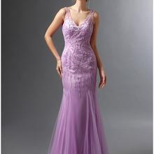 Lavender 2019 Mother Of The Bride Dresses Mermaid V neck Tulle Beaded Plus Size Long Elegant
