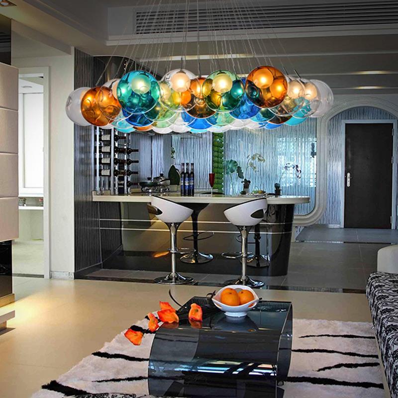 Creative Design Modern LED Colorful Glass Pendant Lights Lamps For Dining Room Living Bar Led G4 90 265V