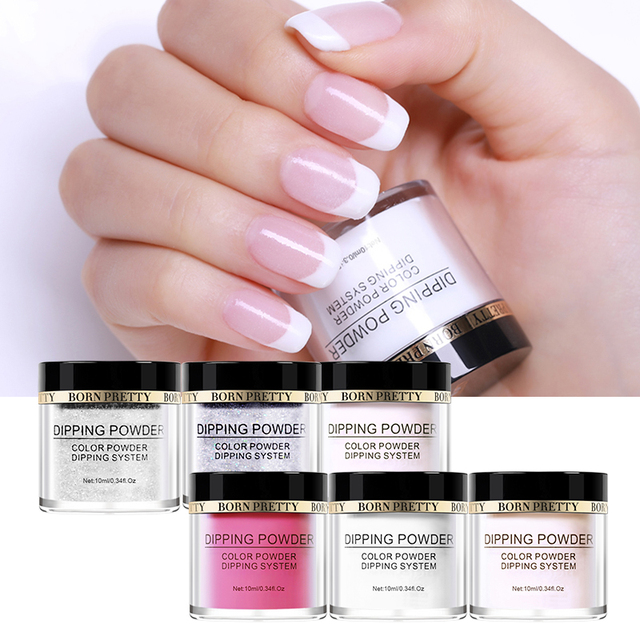 Born Pretty Dipping Powder Nails Grant French Dip 10 Colors Nail Glitter No Need Uv
