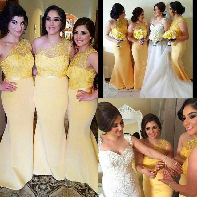2016 Yellow Lace One Shoulder Mermaid Long Bridesmaid Dress Plus Size Floor Length Maid of Honor Dress Wedding Party Gown BD20