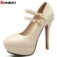 Plus Size US 2 12 New Fashion Mary Janes Women Pumps Round Toe Patent Pu Leather