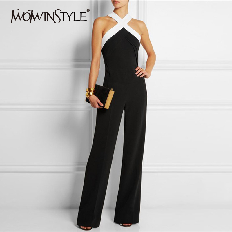 TWOTWINSTYLE Off Shoulder   Jumpsuits   Female Cross Lace Up Slim High Waiat Long Wide Leg Pants 2018 Summer Fashion OL Clothing
