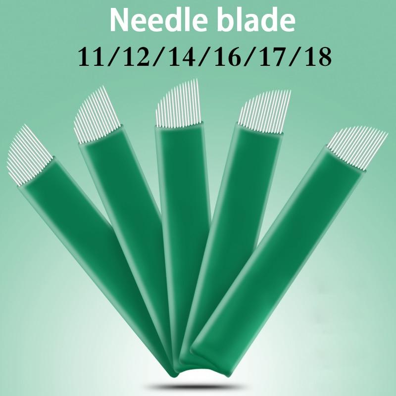 100pcs 11 12 14 16 17 18 Flex Blades 0.20mm Green Microblading Needles For Tattoo Lamina Tebori Permanent Makeup Agulhas Needles