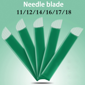 100pcs 11 12 14 16 17 18 Flex Blades 0.20mm Green Microblading Needles for Tattoo Lamina Tebori Permanent Makeup Agulhas Needles