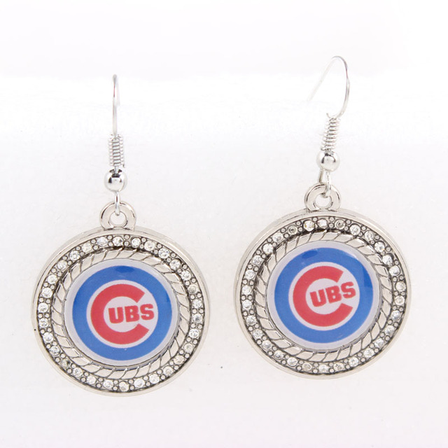 2018 Sports Fashion Round Crystal Dangle Earrings Chicago Cubs Sport Team Logo Jewelry Drop Shipping