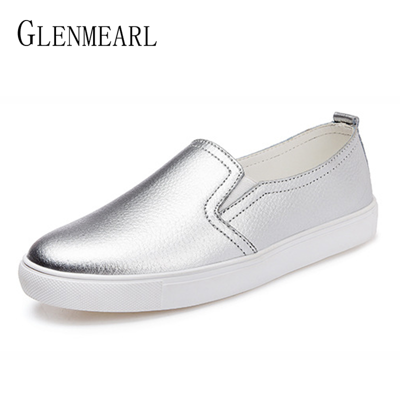 Women Loafers Shoes Genuine Leather Platform Woman Flats Brand Sliver White Casual Shoes Spring Autumn Round Toe Female Flats DE beffery 2018 spring patent leather shoes women flats round toe casual shoes vintage british style flats platform shoes for women