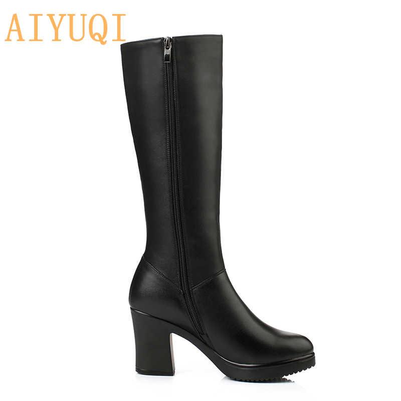 AIYUQI, новые зимние сапоги из натуральной кожи женская обувь женские высокие сапоги до середины икры на высоком каблуке теплые зимние сапоги модная женская обувь