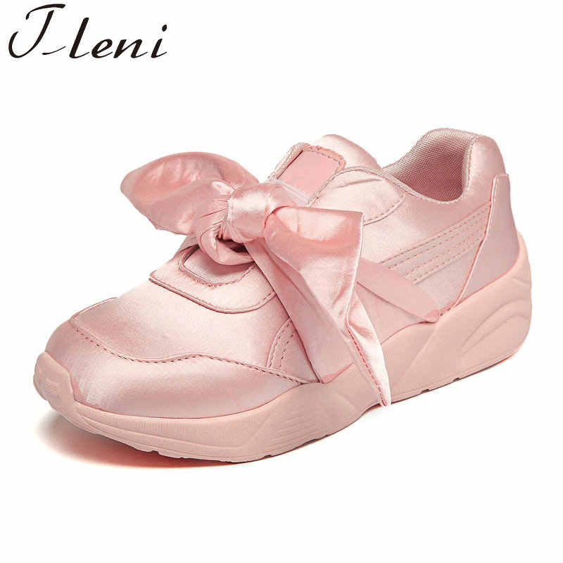 Tleni Women Bow Sneakers Popular Satin Bowknot Running Shoes Cushioning  Support Sports Shoes Bowknot Sneakers Women 55cc2fabf