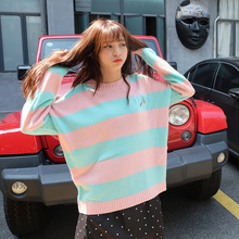 Harajuku Korean Women Candy Color Stripe Cartoon Embroidery Loose Sweater Female Kawaii Cute Retro Knitted Jumper