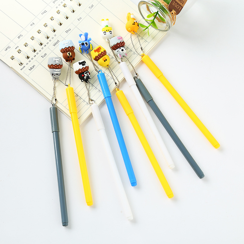 Cartoon Character Totoro Bear Stitch Pendant Gel Pen Signature Pen Escolar Papelaria School Office Supply Promotional Gift 4 pcs pack novelty cute my neighbor totoro gel ink pen signature pen escolar papelaria school office supply