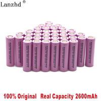 100% original 18650 3.7V 2600MAH Li ion rechargeable 18650 battery for samsung batteries For toys tools flashlight(10 40pcs)