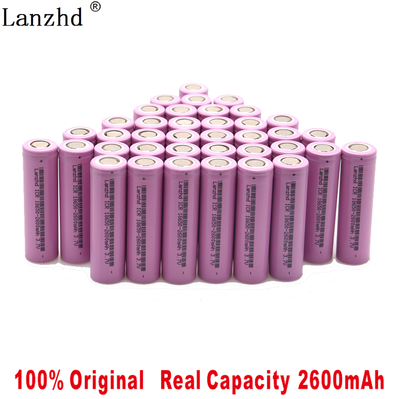 100% original 18650 3.7V 2600MAH recarregável 18650 bateria de iões de lítio para samsung baterias Para ferramentas brinquedos lanterna (10-40 pcs)