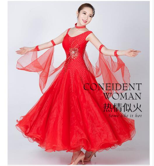 US $47.52 28% OFF|Ballroom Dress Viennese standard ballroom tango costume  plus size lred pink white blue ballroom rumba dresses for women-in Ballroom  ...