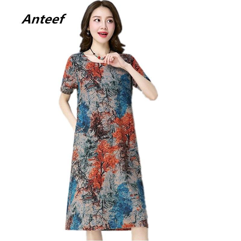 short sleeve cotton linen plus size vintage floral women casual loose midi summer dress elegant vestidos clothes 2019 dresses