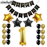 1st 50 baner urodzinowy 32 cal balony foliowe w kształcie cyfr chorągiewki papierowe balony złoty czarny materiały do dekoracji przyjęcia urodzinowego
