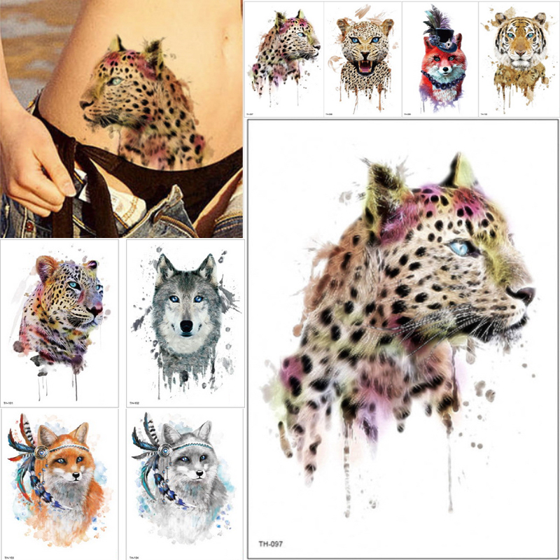 21*15cm NEW Temporary Tattoo Sticker Cute Leopard Wolf Tiger Animals Pattern Waterproof Body Art Fake Tattoo Women Men DIY Paint