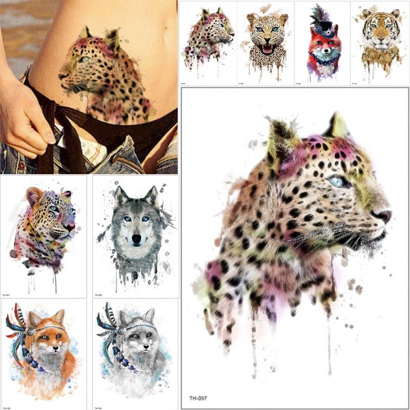 21*15cm NEW Temporary Tattoo Sticker Cute Leopard Wolf Tiger Animals Pattern Waterproof Body Art Fake Tattoo Women Men DIY Paint