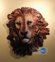 Authentic African head hanging. Home decoration. Simulation lion resin wall act the role of widgets