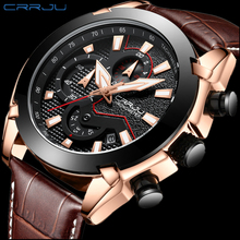 Relojes hombre New Analog Military Sport Watches Fashion Reloj Multifuncion Leather Quartz Men Wristwatch CRRJU Waterproof Clock