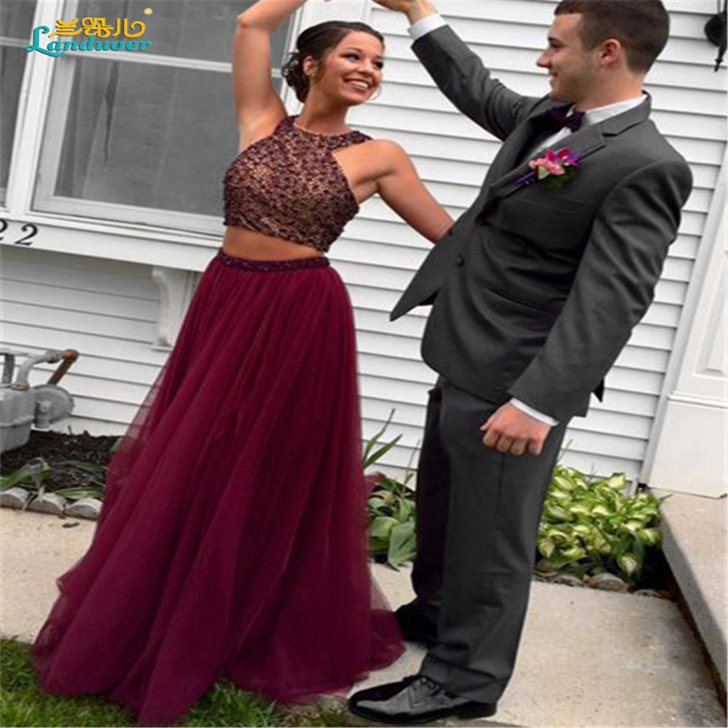Sparkly maroon two piece Prom dresses 2017 Sexy Beads halter backless Prom  dress dark red Formal evening gowns vestidos de baile-in Prom Dresses from  ... 6f2e2505fc0c