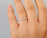 2MM Round Cut CZ White Gold Plated Engagement RIng Fine 925 Sterling Silver Wedding Band Women