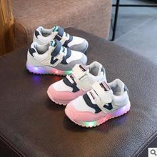 Crianças Sapatos Casuais Luminosa DIODO EMISSOR de luz Gaze Respirável sapatos Fundo Macio Bebê Crianças Tênis Com Luz Tênis Sapatos de Desporto Do Bebê
