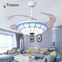 TRAZOS Nordic Tiffany Ceiling Fan With Lights Blue Folding Ceiling Fans With Remote Control Bedroom Retractable Fan Lamp 220V